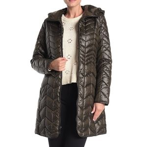 Kenneth Cole Chevron Quilted Hooded Puffer Coat